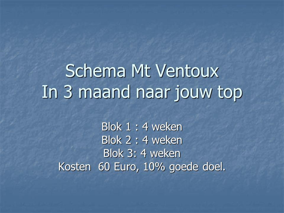 Schema Mt Ventoux In 3 maand naar jouw top