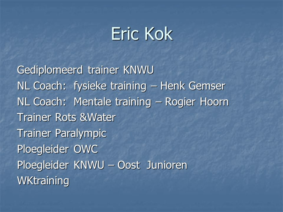 Eric Kok Gediplomeerd trainer KNWU