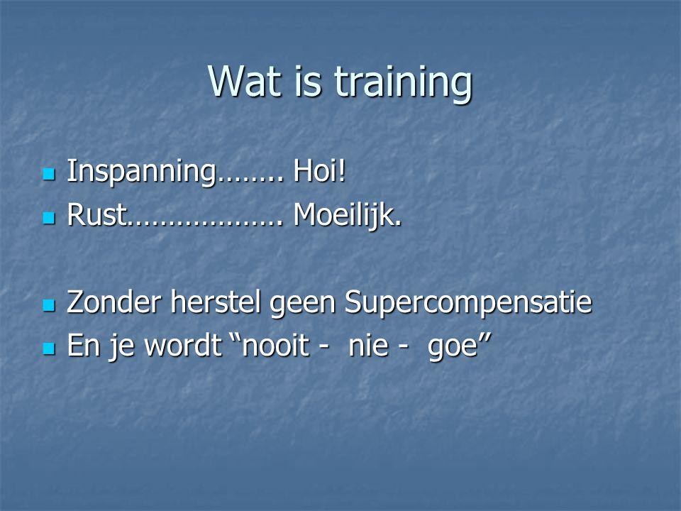 Wat is training Inspanning…….. Hoi! Rust………………. Moeilijk.