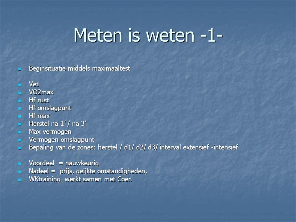 Meten is weten -1- Beginsituatie middels maximaaltest Vet VO2max