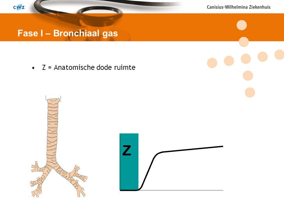 Fase I – Bronchiaal gas Z = Anatomische dode ruimte Z