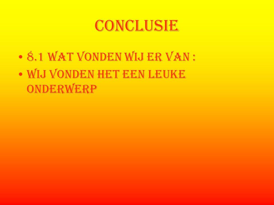conclusie 8.1 wat vonden wij er van :