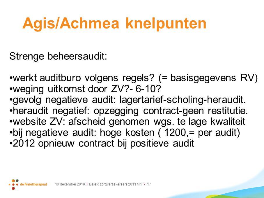 Agis/Achmea knelpunten