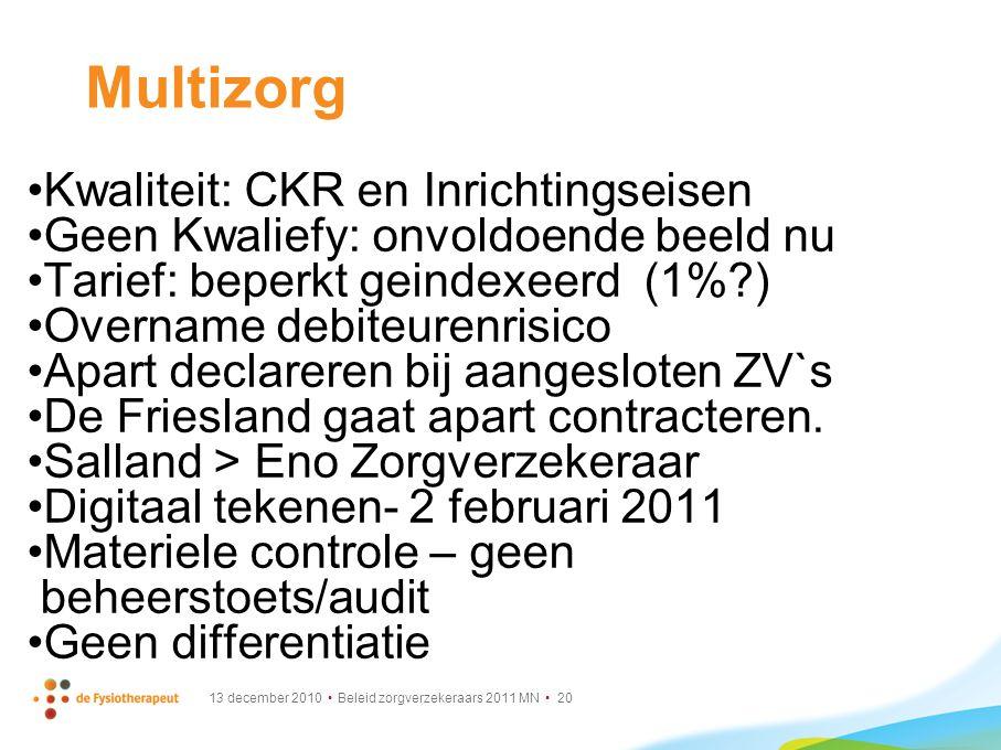Multizorg Kwaliteit: CKR en Inrichtingseisen