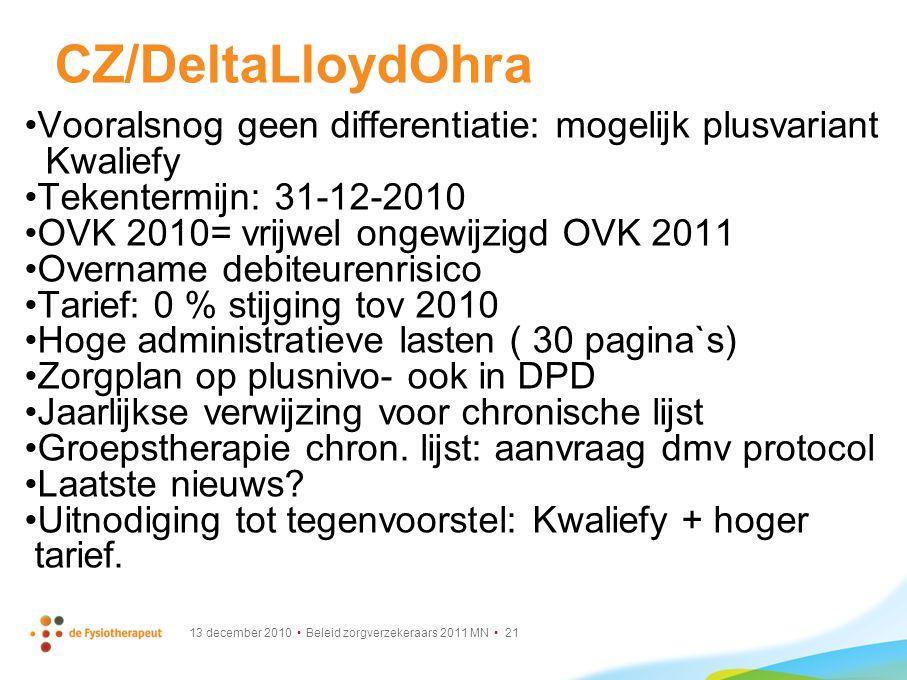 CZ/DeltaLloydOhra Vooralsnog geen differentiatie: mogelijk plusvariant