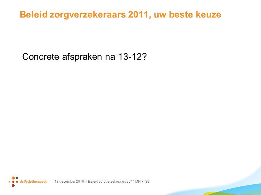 Beleid zorgverzekeraars 2011, uw beste keuze
