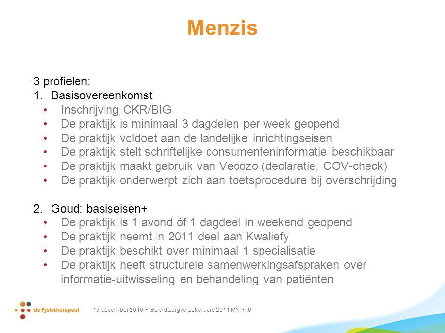 Menzis 3 profielen: Basisovereenkomst Inschrijving CKR/BIG