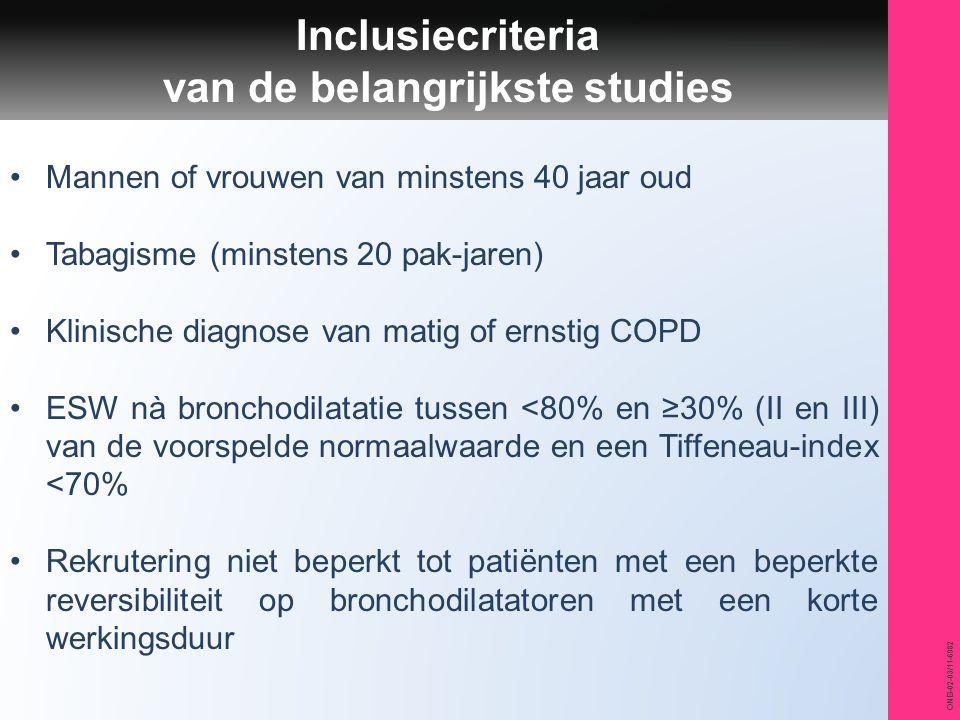 Inclusiecriteria van de belangrijkste studies