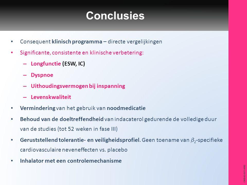 Conclusies Consequent klinisch programma – directe vergelijkingen