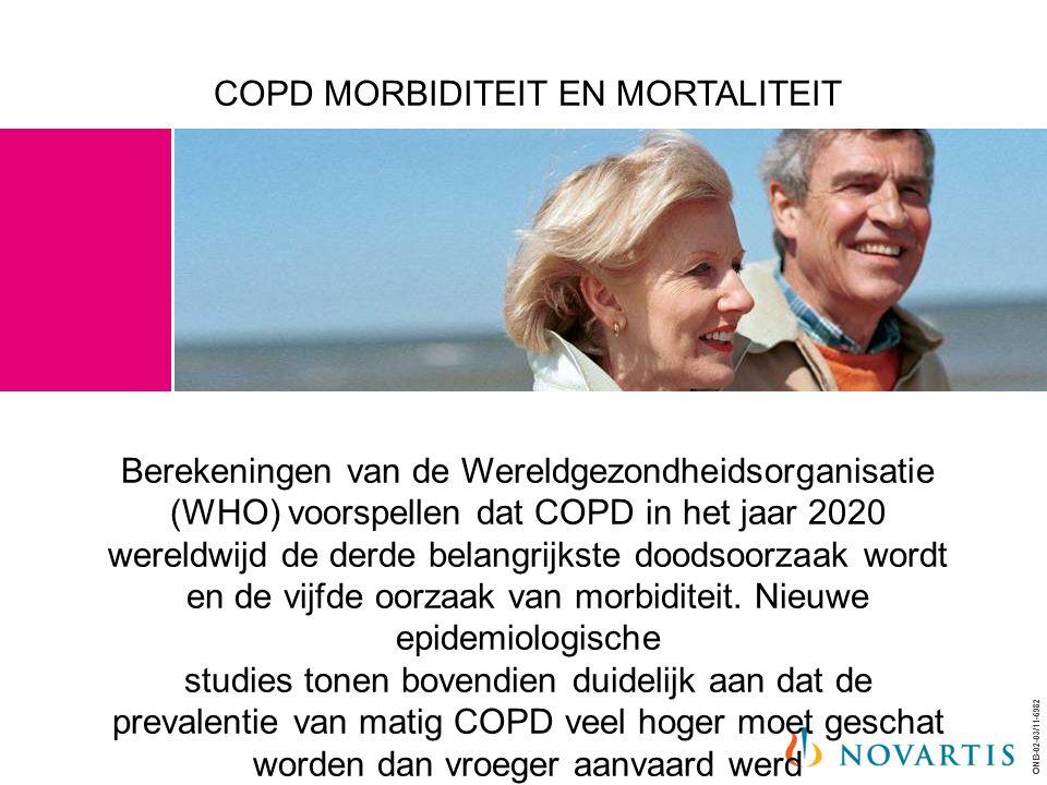 COPD MORBIDITEIT EN MORTALITEIT Berekeningen van de Wereldgezondheidsorganisatie (WHO) voorspellen dat COPD in het jaar 2020 wereldwijd de derde belangrijkste doodsoorzaak wordt en de vijfde oorzaak van morbiditeit.