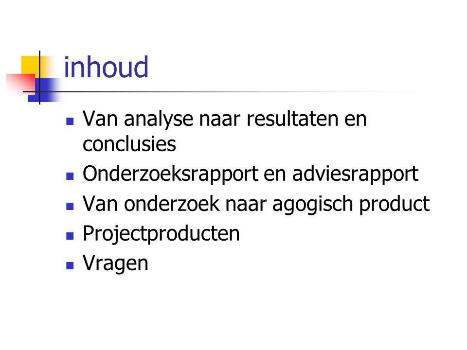 inhoud Van analyse naar resultaten en conclusies