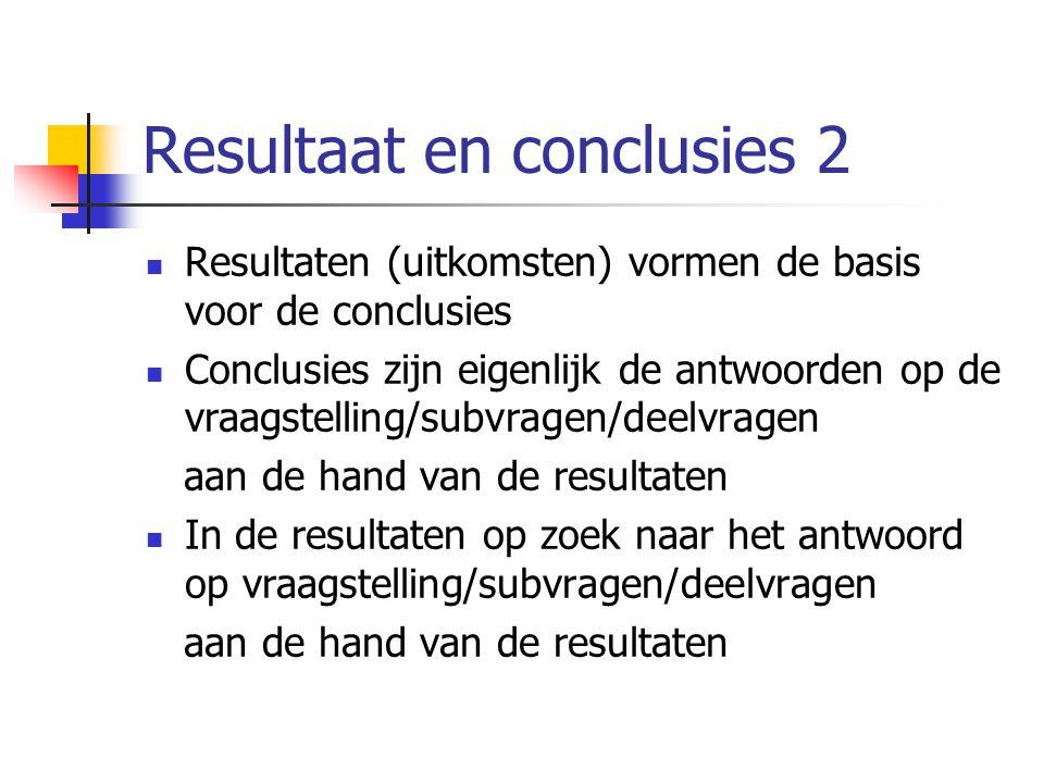 Resultaat en conclusies 2