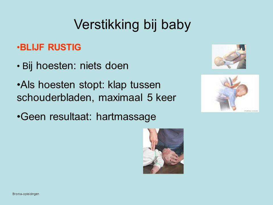 Verstikking bij baby BLIJF RUSTIG. Bij hoesten: niets doen. Als hoesten stopt: klap tussen schouderbladen, maximaal 5 keer.