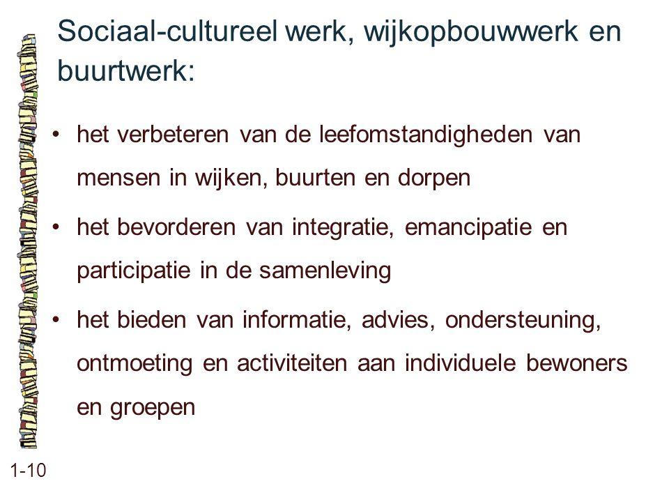 Sociaal-cultureel werk, wijkopbouwwerk en buurtwerk: