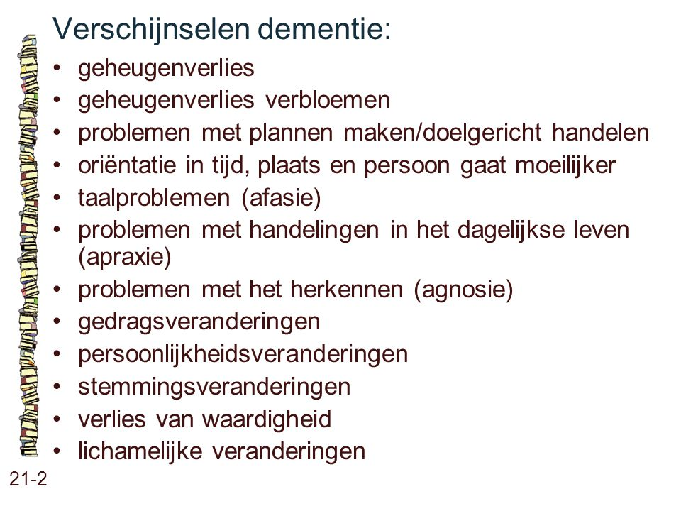 Verschijnselen dementie:
