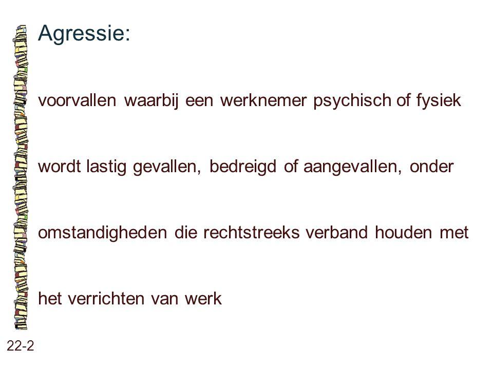 Agressie: voorvallen waarbij een werknemer psychisch of fysiek