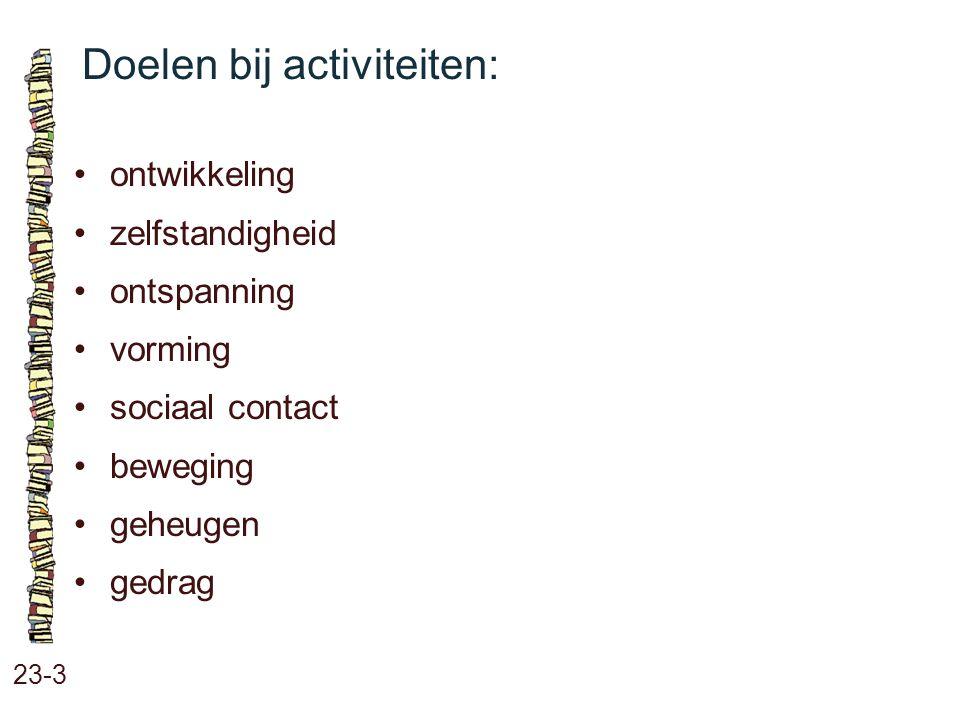Doelen bij activiteiten: