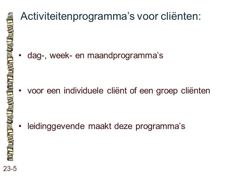 Activiteitenprogramma's voor cliënten: