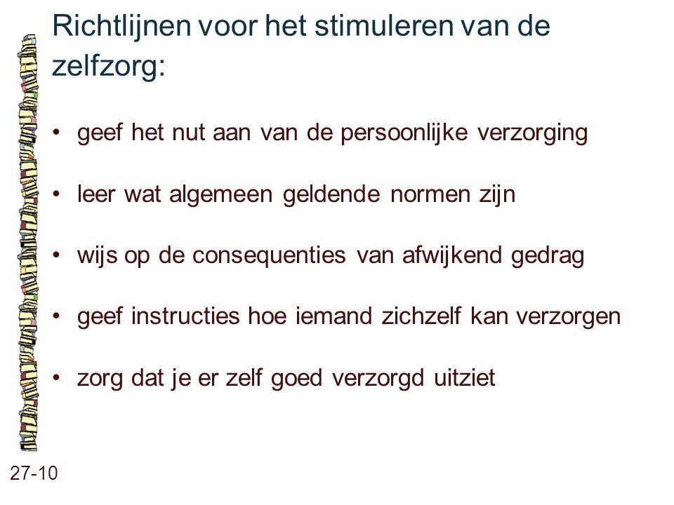 Richtlijnen voor het stimuleren van de zelfzorg: