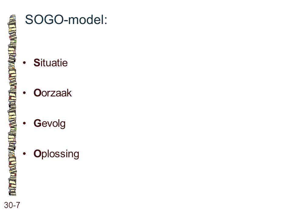 SOGO-model: • Situatie • Oorzaak • Gevolg • Oplossing 30-7