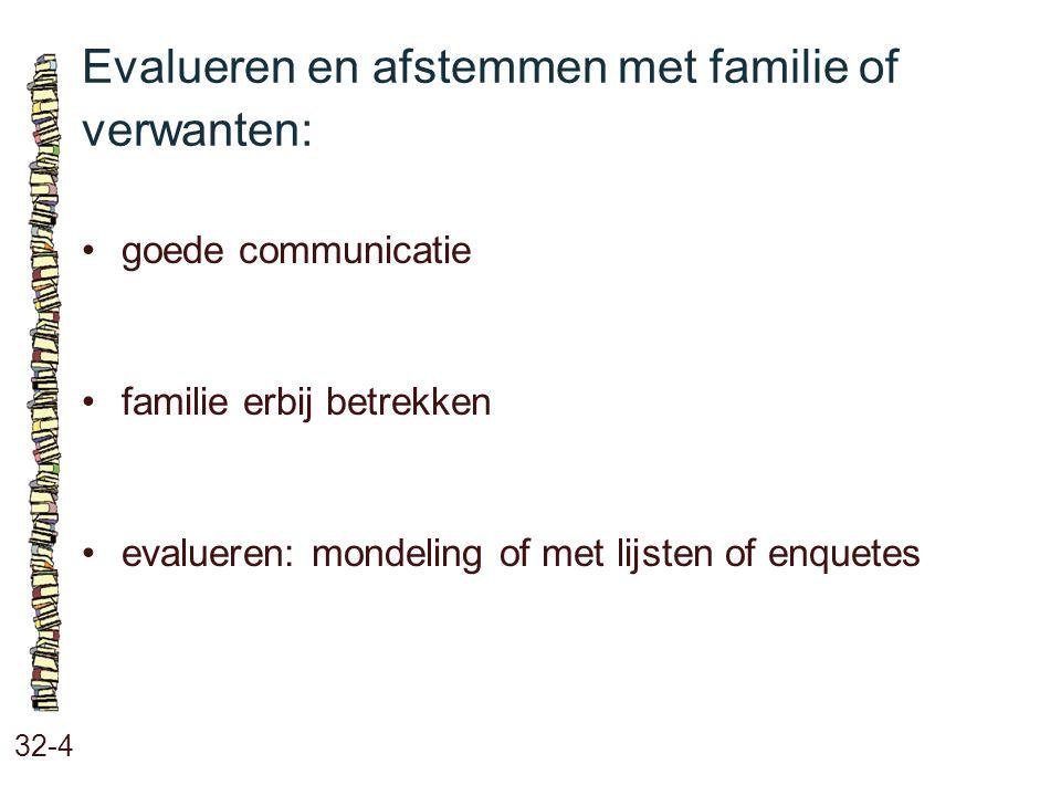 Evalueren en afstemmen met familie of verwanten: