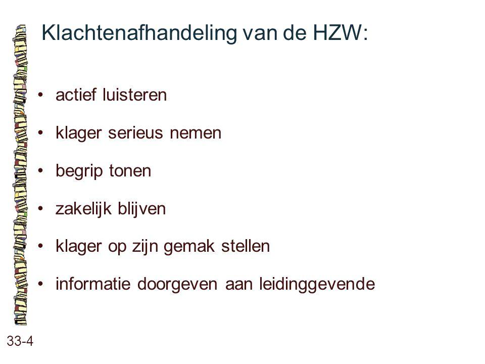 Klachtenafhandeling van de HZW: