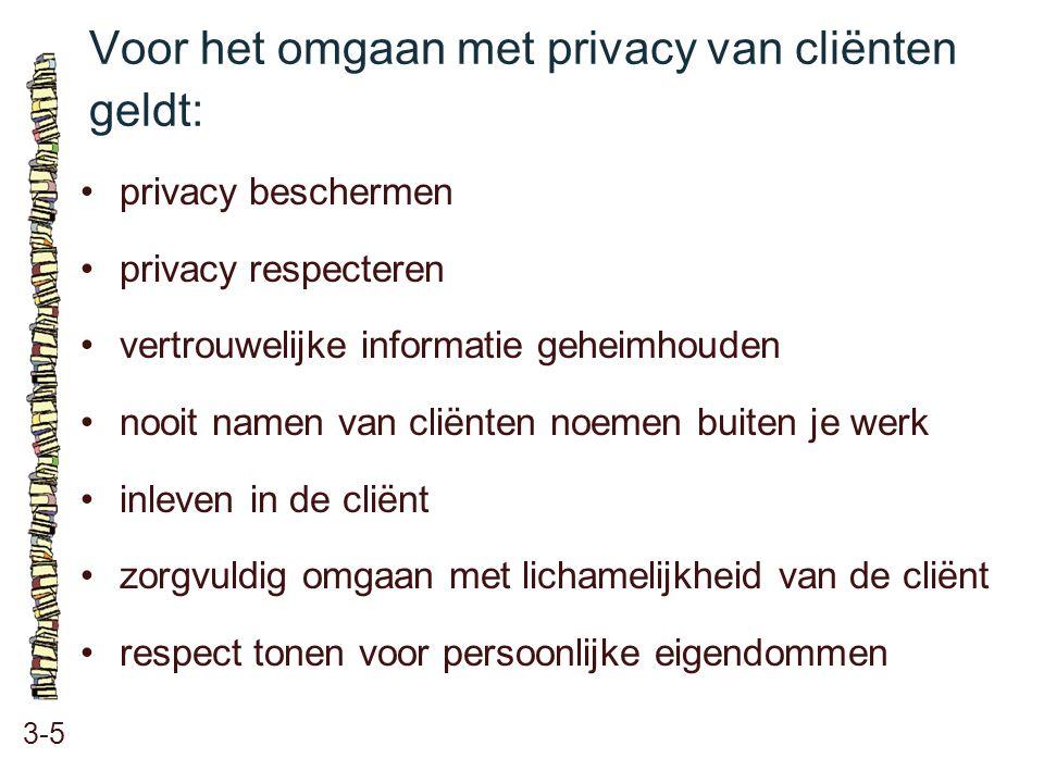 Voor het omgaan met privacy van cliënten geldt: