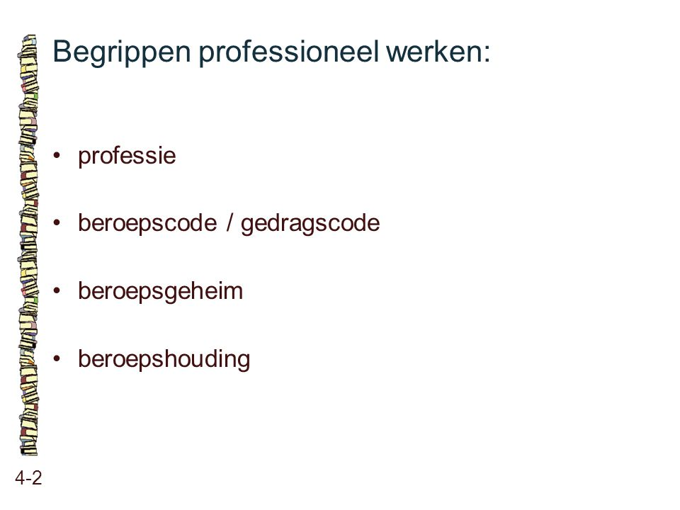 Begrippen professioneel werken: