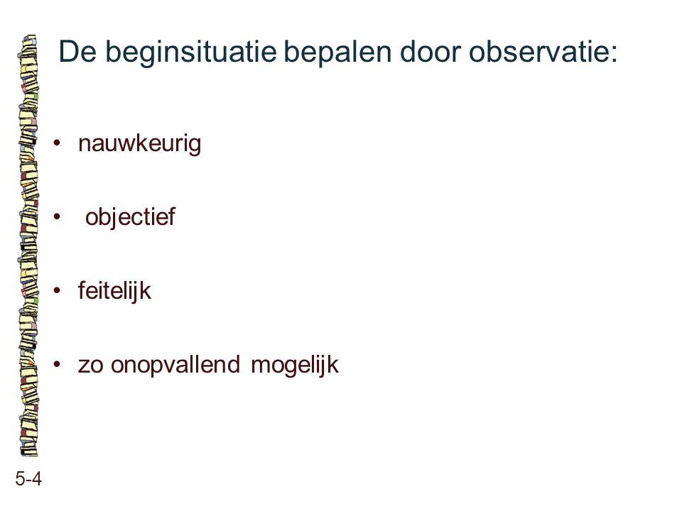 De beginsituatie bepalen door observatie: