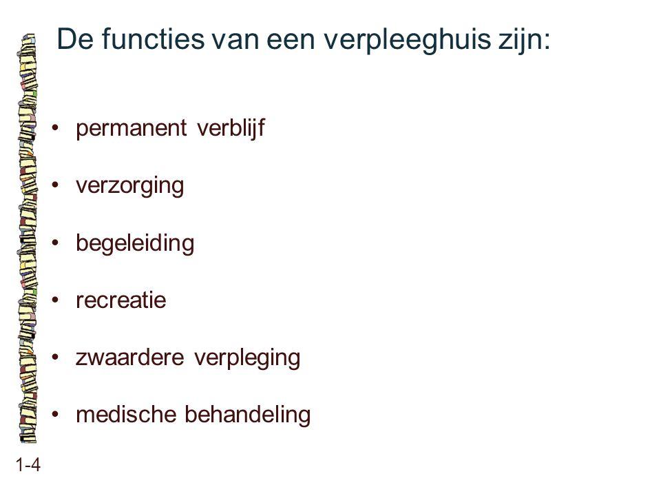 De functies van een verpleeghuis zijn: