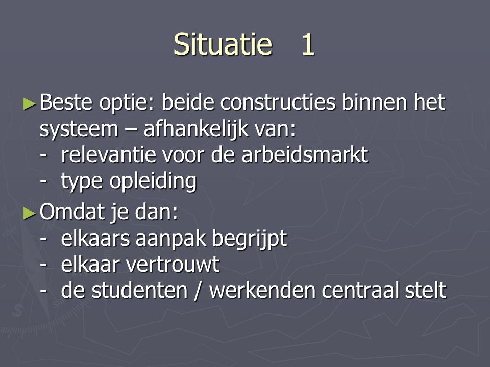 Situatie 1 Beste optie: beide constructies binnen het systeem – afhankelijk van: - relevantie voor de arbeidsmarkt - type opleiding.
