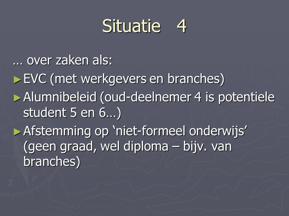 Situatie 4 … over zaken als: EVC (met werkgevers en branches)