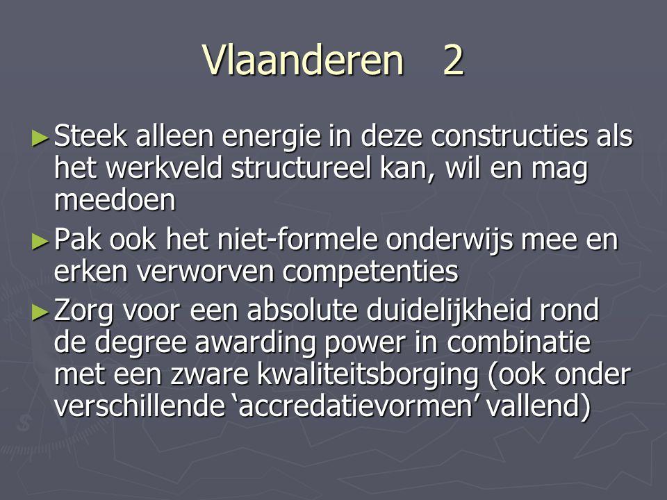 Vlaanderen 2 Steek alleen energie in deze constructies als het werkveld structureel kan, wil en mag meedoen.