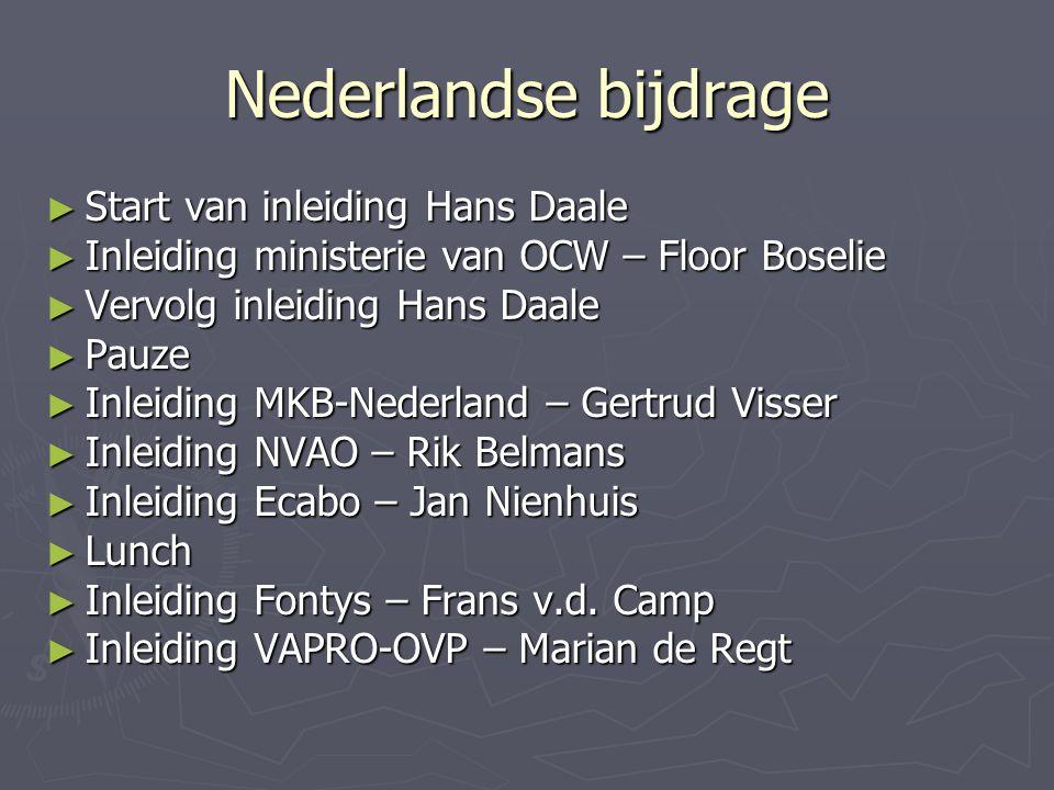 Nederlandse bijdrage Start van inleiding Hans Daale