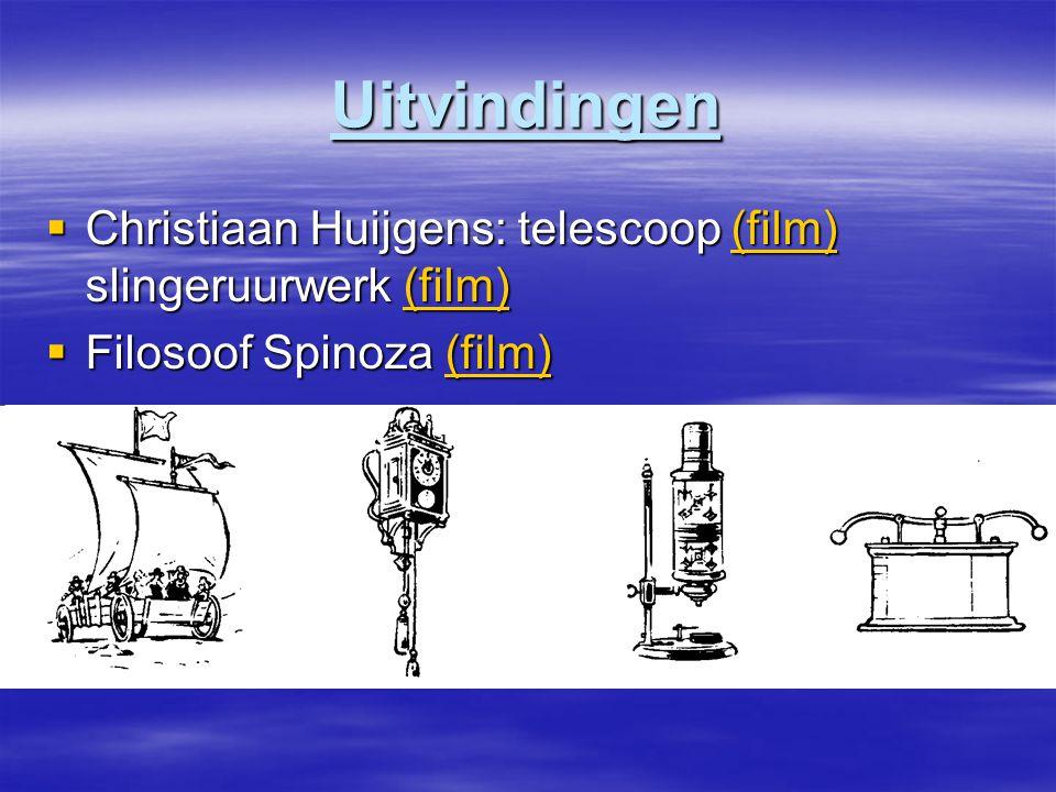 Uitvindingen Christiaan Huijgens: telescoop (film) slingeruurwerk (film) Filosoof Spinoza (film)