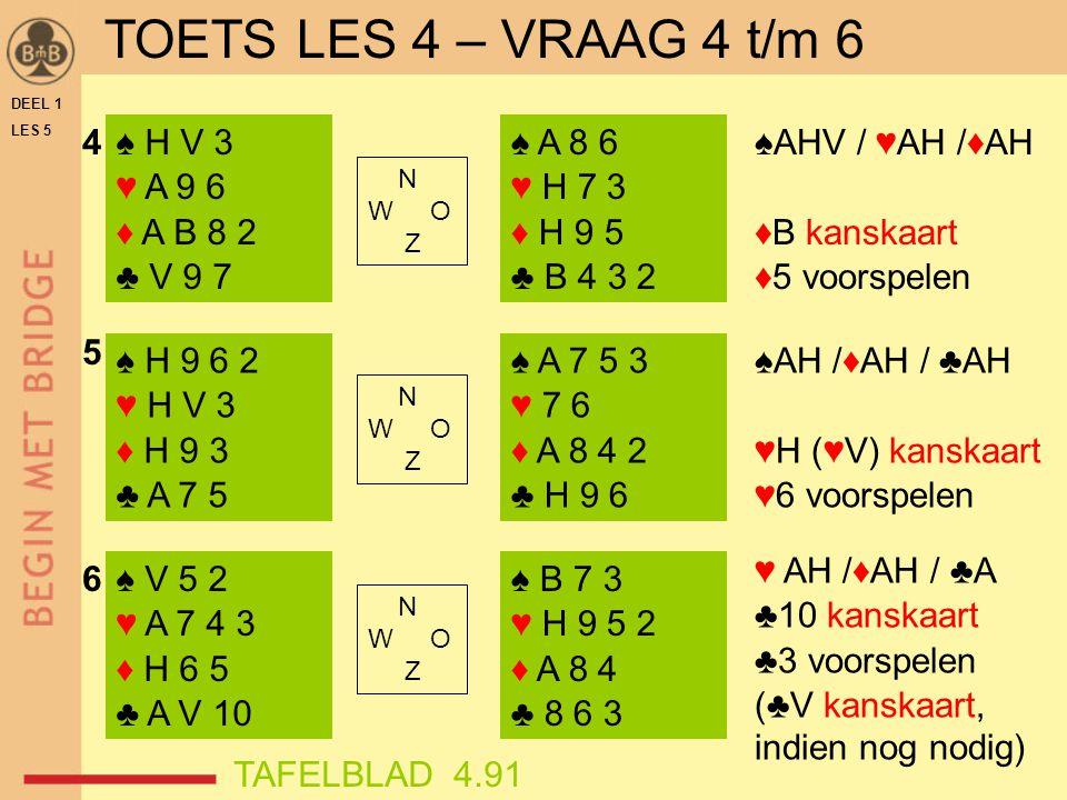 TOETS LES 4 – VRAAG 4 t/m 6 4 ♠ H V 3 ♥ A 9 6 ♦ A B 8 2 ♣ V 9 7