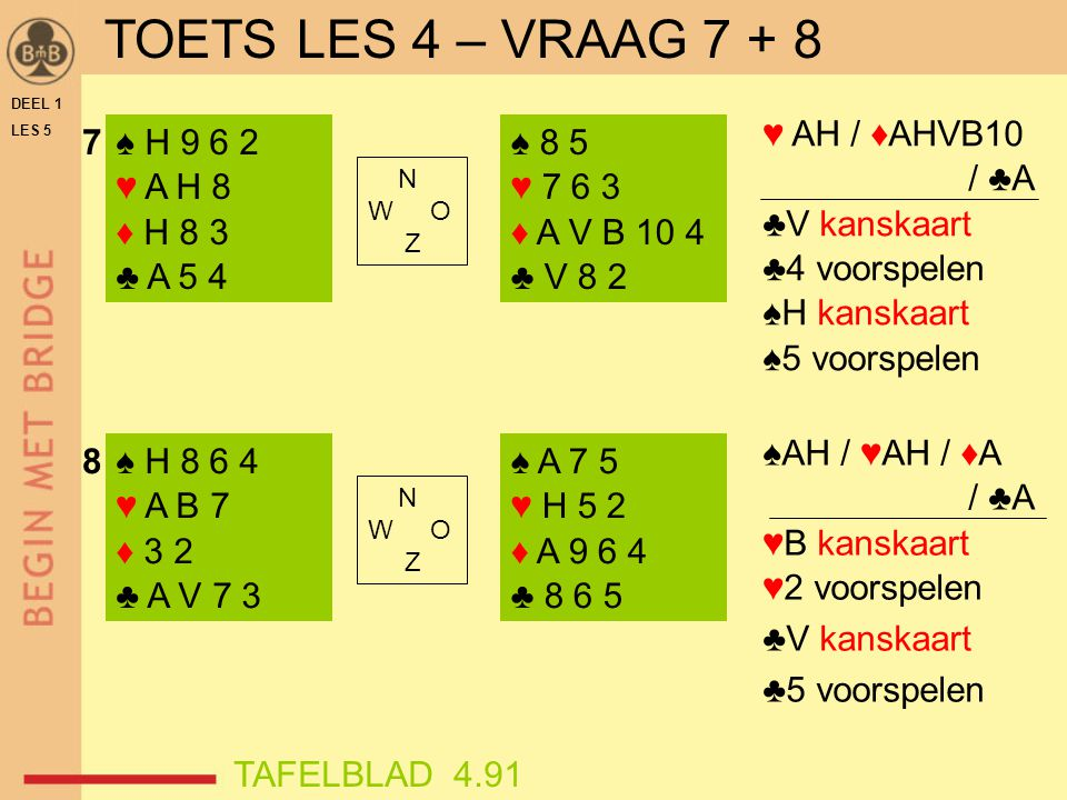 TOETS LES 4 – VRAAG 7 + 8 ♥ AH / ♦AHVB10 / ♣A ♣V kanskaart