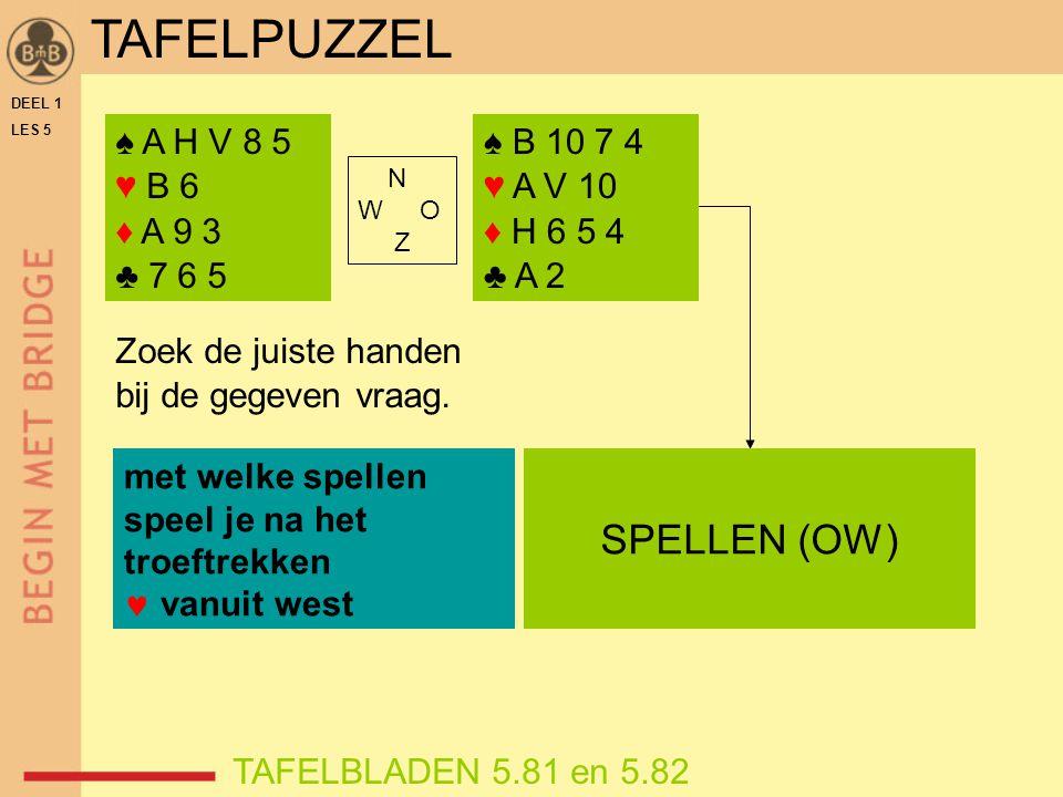 TAFELPUZZEL SPELLEN (OW) ♠ A H V 8 5 ♥ B 6 ♦ A 9 3 ♣ 7 6 5 ♠ B 10 7 4