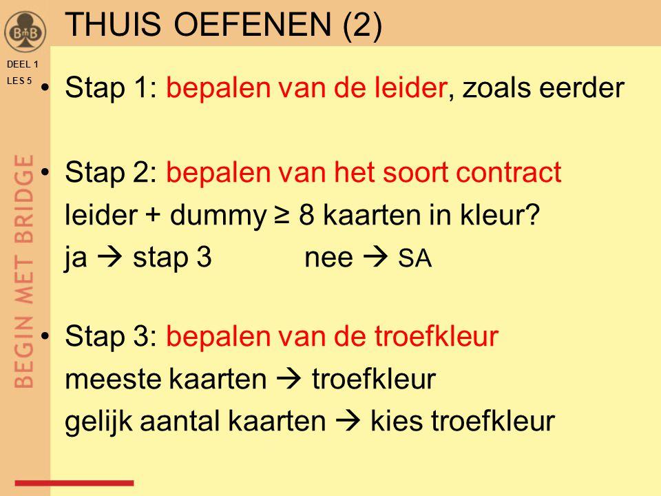 THUIS OEFENEN (2) Stap 1: bepalen van de leider, zoals eerder