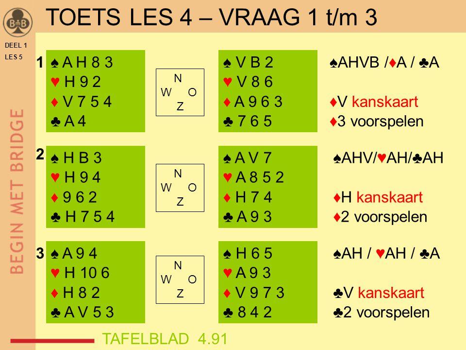 TOETS LES 4 – VRAAG 1 t/m 3 1 ♠ A H 8 3 ♥ H 9 2 ♦ V 7 5 4 ♣ A 4