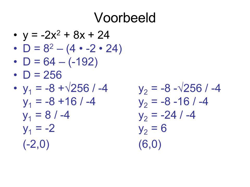 Voorbeeld y = -2x2 + 8x + 24 D = 82 – (4 • -2 • 24) D = 64 – (-192)