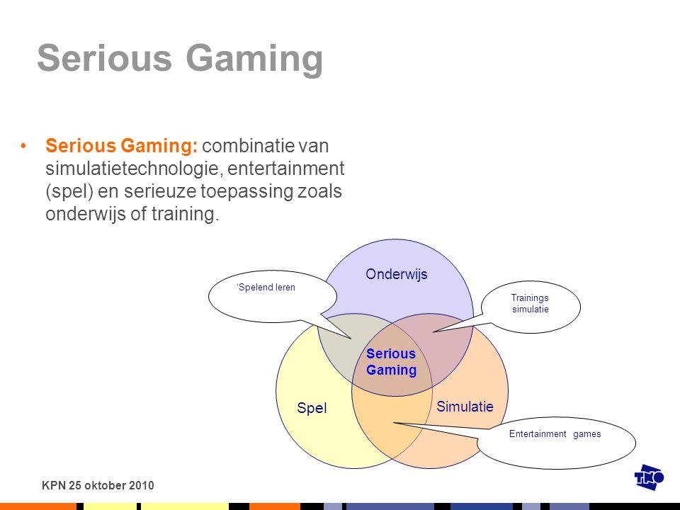 Serious Gaming Serious Gaming: combinatie van simulatietechnologie, entertainment (spel) en serieuze toepassing zoals onderwijs of training.