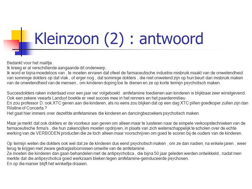 Kleinzoon (2) : antwoord