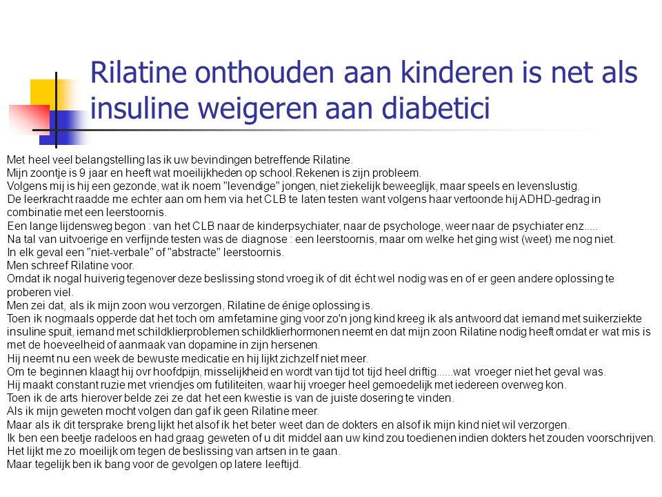 Rilatine onthouden aan kinderen is net als insuline weigeren aan diabetici