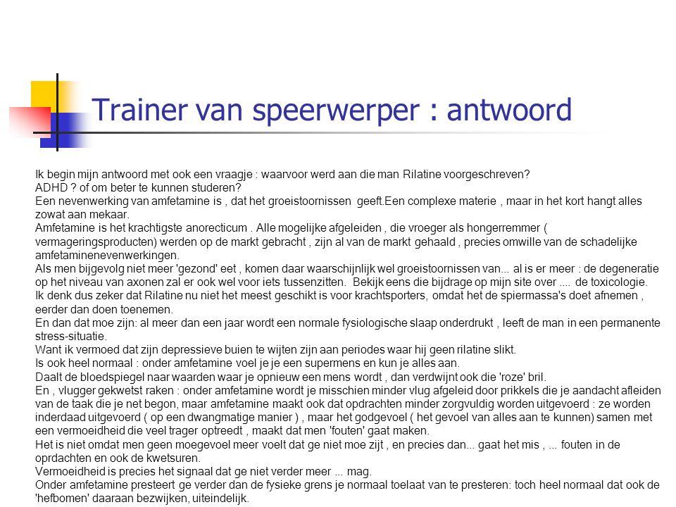 Trainer van speerwerper : antwoord