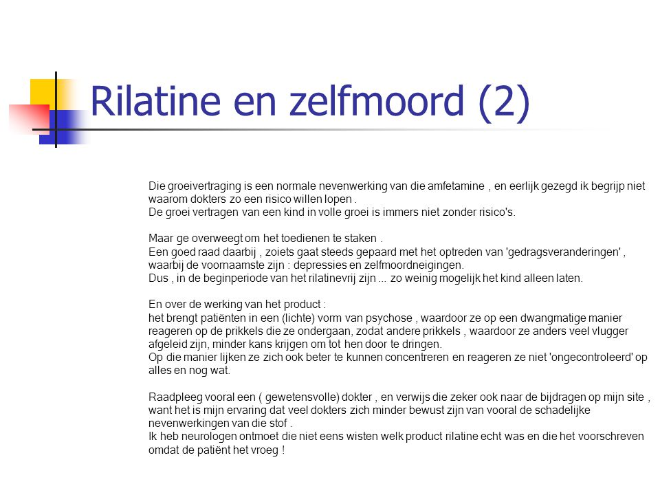 Rilatine en zelfmoord (2)