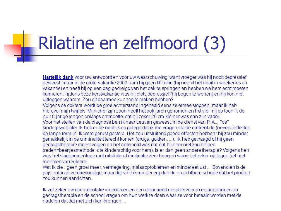 Rilatine en zelfmoord (3)