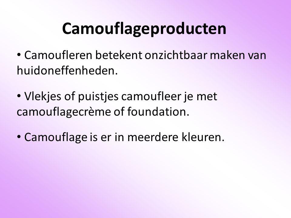 Camouflageproducten Camoufleren betekent onzichtbaar maken van huidoneffenheden.
