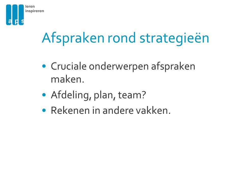 Afspraken rond strategieën
