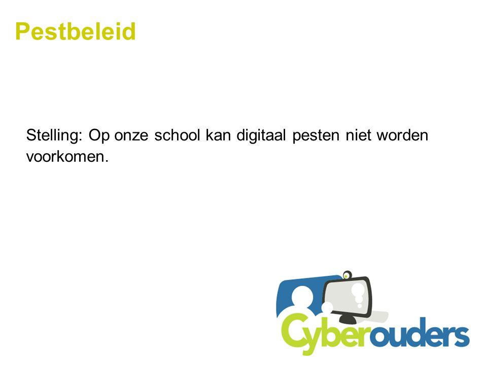 Pestbeleid Stelling: Op onze school kan digitaal pesten niet worden
